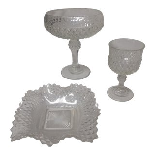 Indiana Glass Crystal Compote Set - 3 Piece For Sale