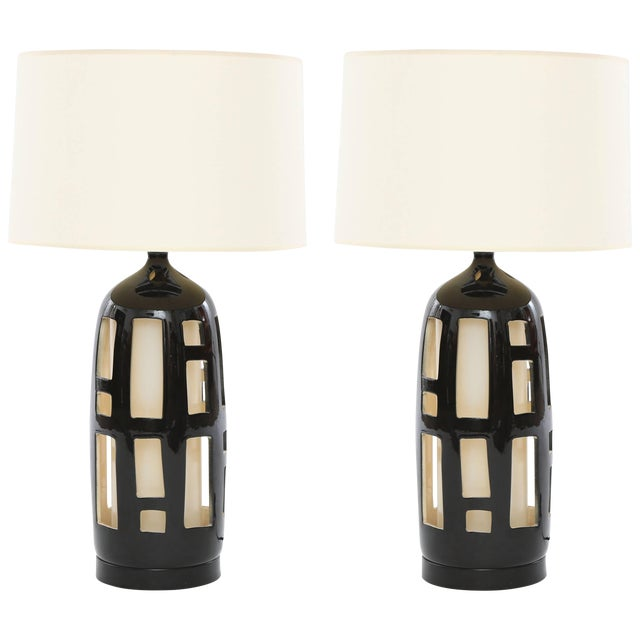Striking Pair of Cut-Out Ceramic Lamps For Sale