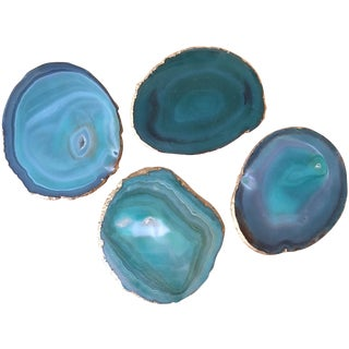 Green Agate Coasters With Gold Rim - Set of 4