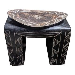 1990s Vintage African Carved Bamileke Pedestal Stool For Sale