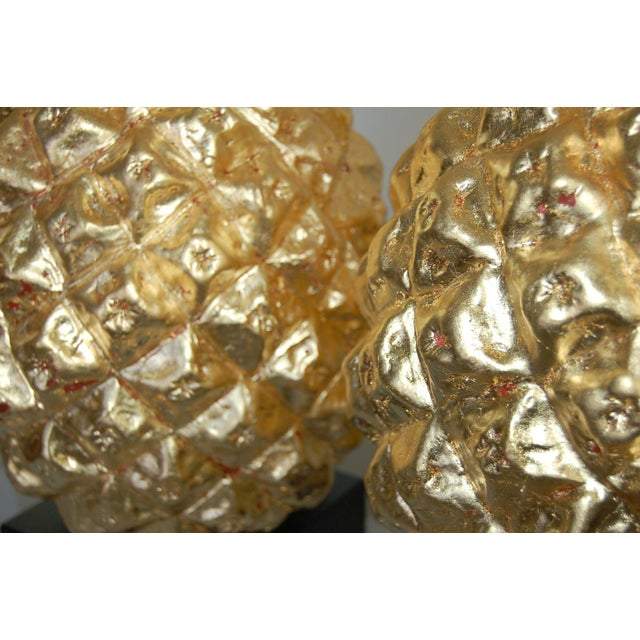 Marbro Italian Ceramic Pineapple Table Lamps Gold For Sale In Little Rock - Image 6 of 11