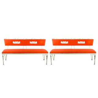Hollywood Regency Orange and White Iron Benches - a Pair
