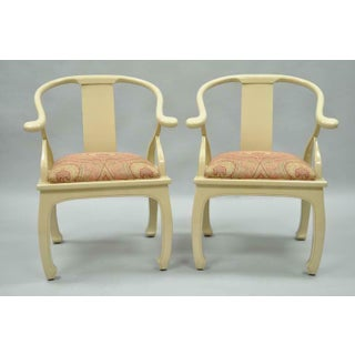 Vintage Cream Lacquered James Mont Style Ming Horseshoe Lounge Chairs - A Pair Preview