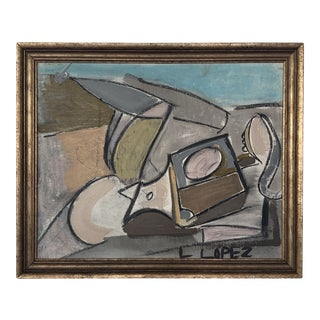 1980s Framed Charcoal Abstract Drawing For Sale