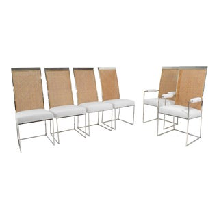Vintage Mid Century Milo Baughman Dining Chairs in Holly Hunt Great Outdoors- Set of 6 For Sale