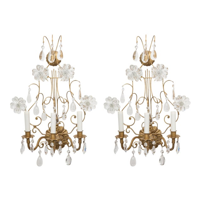 Pair of Italian Gilt Metal and Crystal Electrified Sconces For Sale