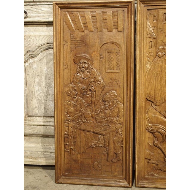 Set of Three Bas Relief Carved Belgian Panels, Circa 1930 For Sale - Image 10 of 13
