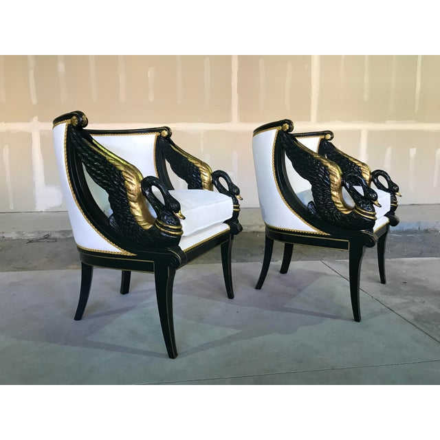 Early 20th Century Gilt Mahogany Swan Chairs Attributed Charles Percier- a Pair For Sale - Image 13 of 13