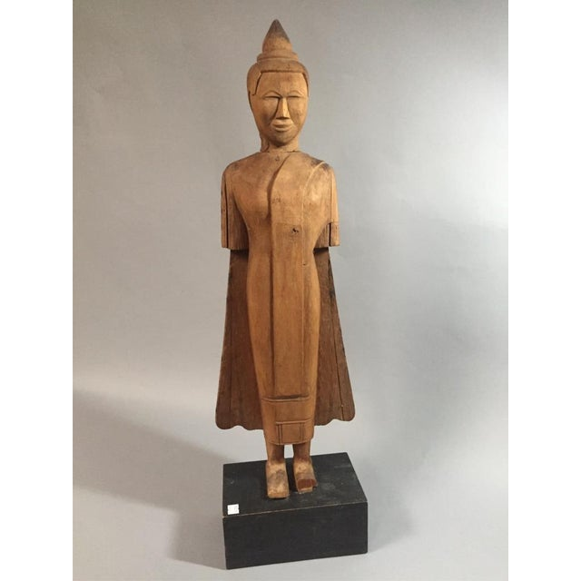 Wood Asian Wooden Standing Figure on Base For Sale - Image 7 of 7