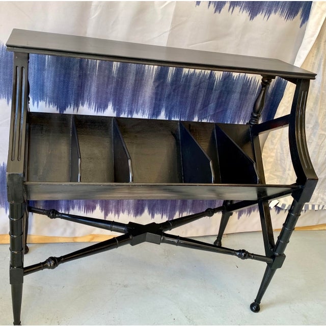 Wood Vintage Distressed Black Open Storage French Console Table Wood For Sale - Image 7 of 12