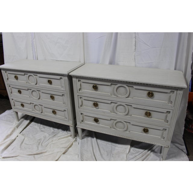 Large and stunning vintage Swedish bedside chests. Carved out of solid Oak wood, dental moldings, unique classic shapes on...