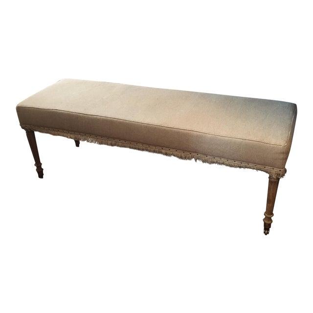 Pleasing Zentique Hemp Linen Gray Oak Bench Andrewgaddart Wooden Chair Designs For Living Room Andrewgaddartcom
