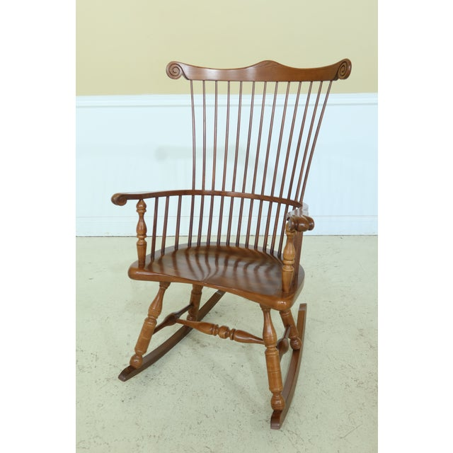 Frederick Duckloe Cherry Fan Back Windsor Rocking Chair For Sale - Image 10 of 10