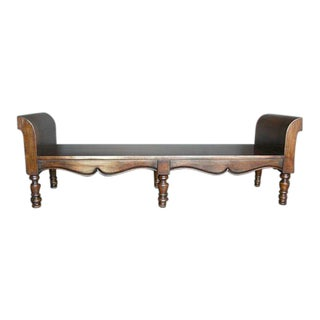Custom Walnut Wood Double Rolled Arm Bench and Six Legs For Sale