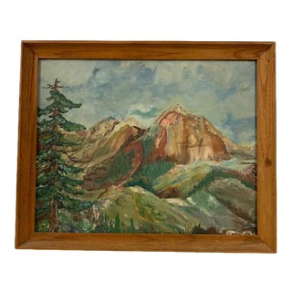 Mid 20th Century Mountain Landscape Painting, Framed For Sale