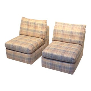 1980s Comfortable Vintage Upholstered Slipper Chairs - a Pair For Sale