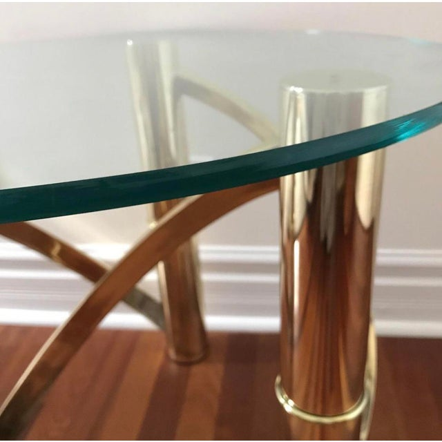 Mid-Century Modern Mid-Century Modern Round Glass & Curved Brass Side End Table For Sale - Image 3 of 4