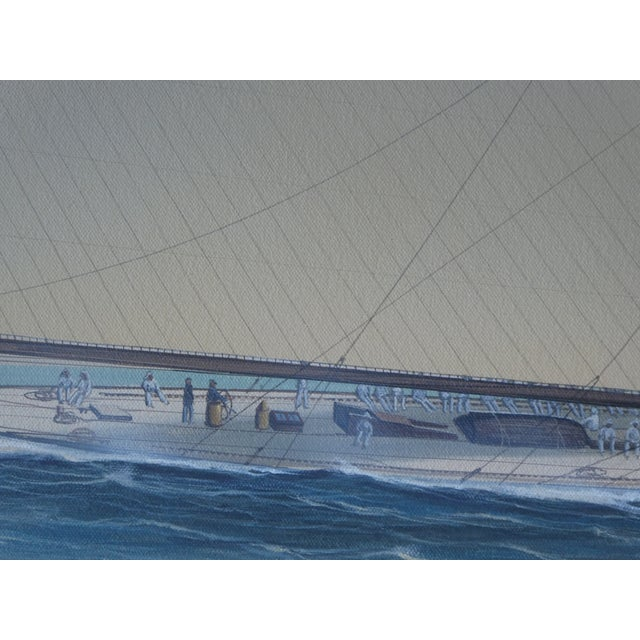 Canvas 21st Century Vintage Yacht Racing Painting Possibly America's Cup by Richard Lane For Sale - Image 7 of 12