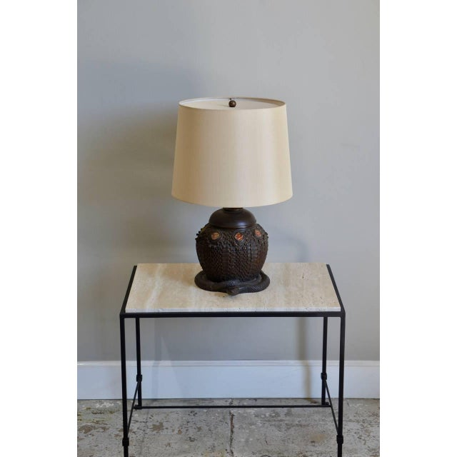 Heavy Tiffany Snake Basket Patinated Bronze Lamp With Custom Silk Shade For Sale - Image 12 of 12