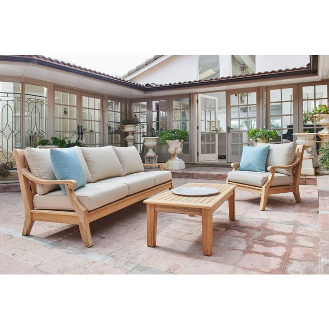 Not Yet Made - Made To Order Sonoma Teak Deep Seating Outdoor Club Chair with Sunbrella Antique Beige Cushion For Sale - Image 5 of 6