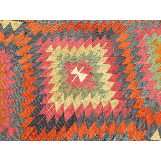 Orange Vintage Diamond Design Kilim Rug For Sale - Image 8 of 10