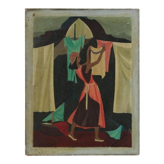Vintage Mid Century Modern Oil on Board-Signed-A Woman Hanging Laundry, 1948 For Sale