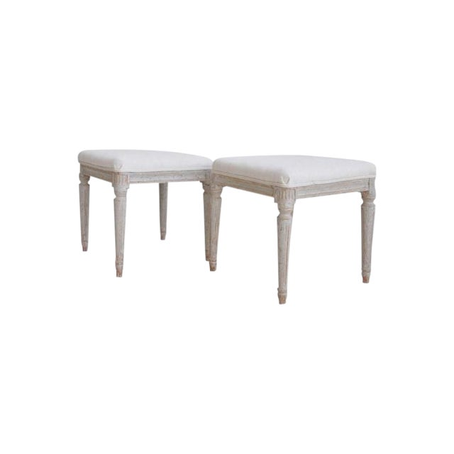 19th Century Pair of Swedish Late Gustavian Stools For Sale