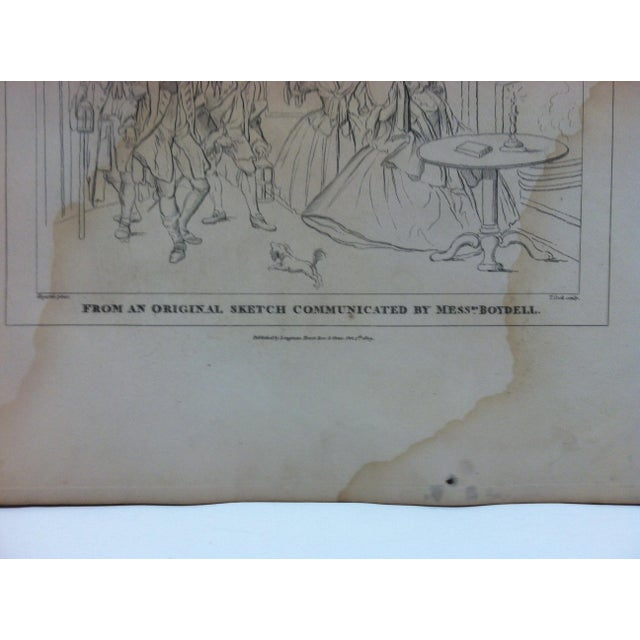 """English Antique Rare Original Engraving, """"From an Original Sketch Communicated by Mess Boydell"""" by John Hogarth, circa 1840 For Sale - Image 3 of 4"""