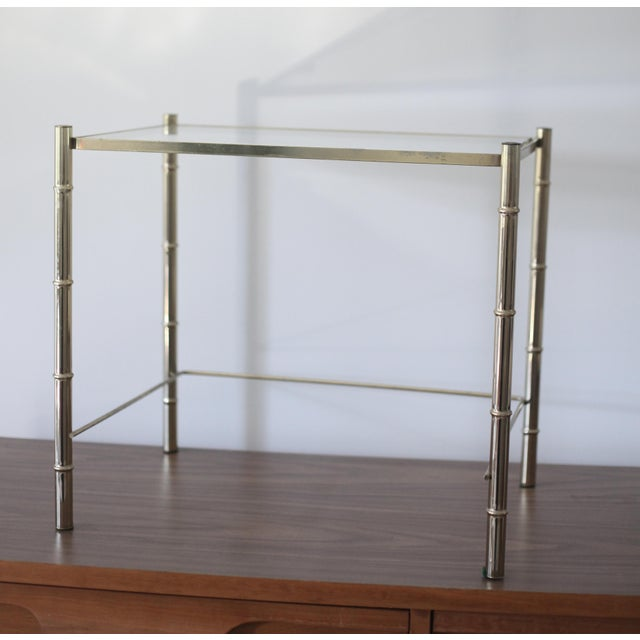 Vintage Brass Faux Bamboo Side Table - Image 2 of 7