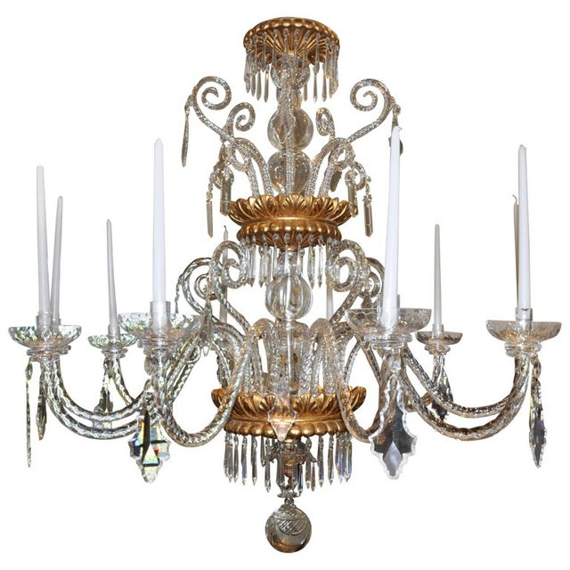 Neoclassical Glass and Gilt Italian Murano or Genoese Chandelier For Sale In Boston - Image 6 of 6