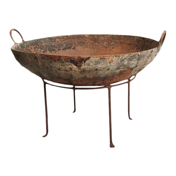 Rustic Primitive Iron Kadai Fire Bowl on Stand For Sale