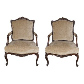 19th C. French Walnut Arm Chairs - a Pair For Sale