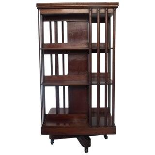 Victorian Mahogany Revolving Library Bookshelf For Sale