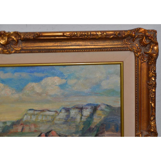"""Mid 20th Century Arizona Western Landscape """"near Flagstaff"""" Oil Painting by Francoise For Sale - Image 5 of 9"""