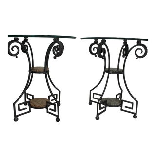 1990s Hollywood Regency Theodore Alexander Iron/Glass/Marble Accent Tables - a Pair For Sale
