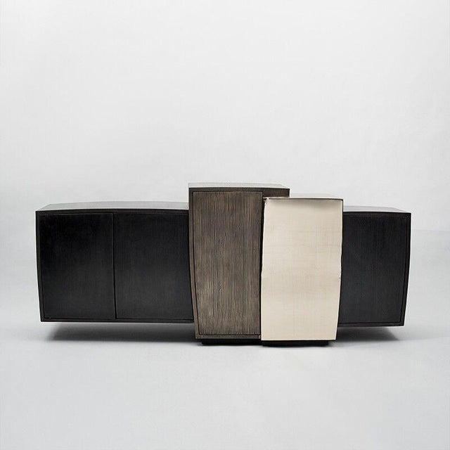 2010s Gary Magakis, Blackened Steel Console with Grained and Mirrored Bronze, USA, 2015 For Sale - Image 5 of 10