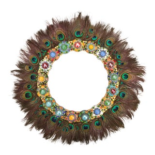 Maximalist Gemmed Cloisonné Wreath With Peacock Feathers For Sale