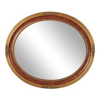French Louis XVI Style Faux Tortoise Oval Mirror, 1920s For Sale