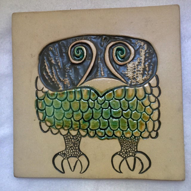 David Gil designed this whimsical yet sophisticated Owl Stoneware Tile in the 1950s to work as either a wall hanging or a...