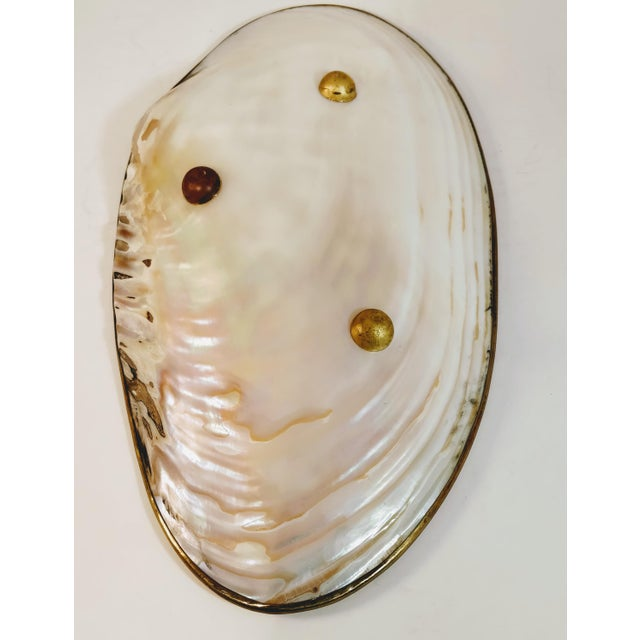 Vintage Shell & Brass Mother of Pearl Dish Oyster Tray For Sale - Image 4 of 13