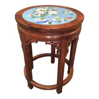 Carved Chinese Cloisonne Inlay Rosewood Table