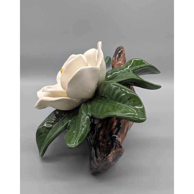 Shabby Chic Late 20th Century Vintage Ceramic Magnolia Flower Figurine For Sale - Image 3 of 8