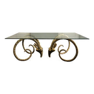 Hollywood Regency Brass Ibex Rams Head Dining Table Attributed to Alain Chervet For Sale