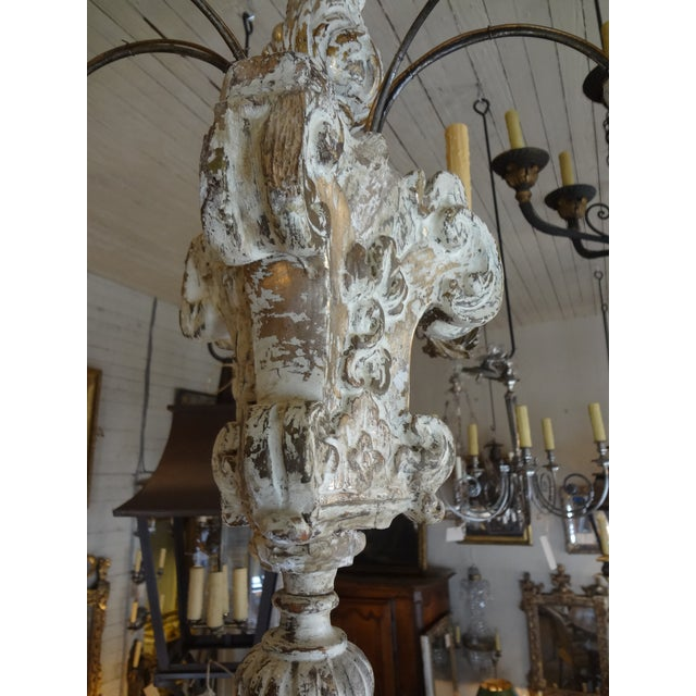 19th Century Italian Wood and Iron Chandelier For Sale - Image 9 of 11