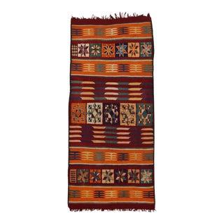 Vintage Berber Moroccan Kilim with Tribal Boho Chic Style, Flatweave Kilim Rug For Sale