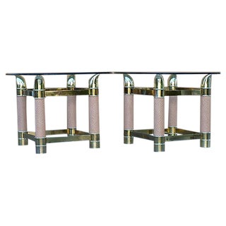 Vintage Brass-Plated Side Tables - Pair For Sale