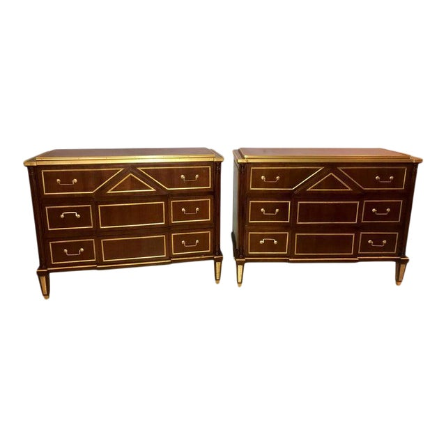 Pair of Russian Neoclassical Style Commodes / Bedside Nightstands or Servers For Sale