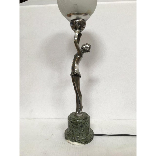 Harlequin Ballets Russes Silver Bronze Lamp in the Manner of Max Le Verrier For Sale - Image 9 of 13