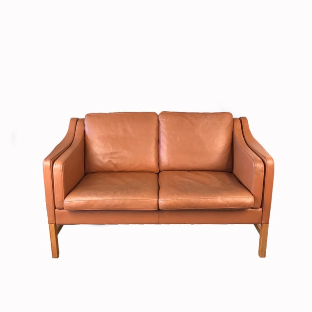Brown Vintage Danish Leather Sofa For Sale - Image 8 of 8