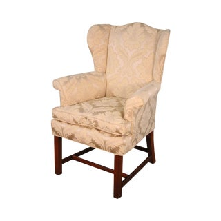 Chippendale Style Custom Mahogany Vintage Wing Chair For Sale